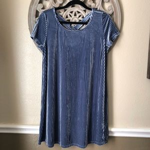 She & sky Blue velvet shift dress size L